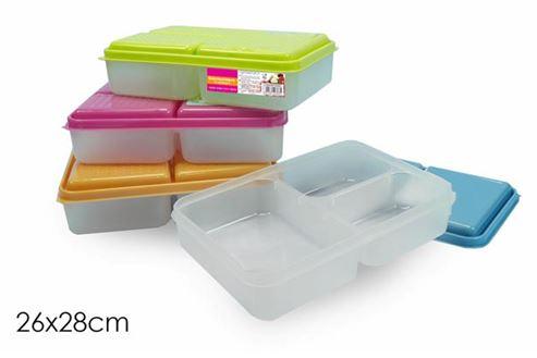 46a37be9338 Τάπερ πλαστικό 3 θέσεων με χρωματιστό καπάκι 26x28εκ.